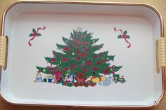 Vintage Christmas Tray! Mid Century Style Decorative Christmas Tree Tray | Christmas Decor!