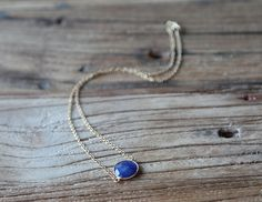 Sapphire and 18ct gold filled chain drop necklace