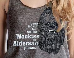 STAR WARS RACERBACK Women's Tank Top American Apparel - Been Lookin' For Some Wookiee in Alderaan Places - Funny Scoop Neck Coffee Tank