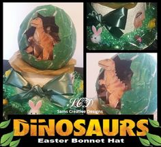 Dinosaur Green Easter Bonnet straw Hat Boys Adults Mini Chocolate Egg Chicks. Boys Easter Hat, Easter Bonnets For Boys, Dinosaur Easter Egg, Easter Hat Parade, Dinosaur Hat, Easter Eggs, Easter Crafts, Crafts For Kids, Easter Ideas