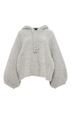 Grey Wool Alpaca Oversized Sleeved Hoodie by TABULA RASA Now Available on Moda Operandi