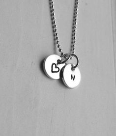 Initial Necklace Letter w Necklace Tiny Heart by GirlBurkeStudios #initialnecklace