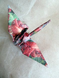 Italian Rose Peace Crane Christmas Origami Ornament Wedding Cake Topper Party Favor Place Card Holder Table Decoration   by localcolorist