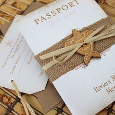Vintage Tropical Passport Wedding Invitation (Riviera Maya, Mexico) - Design Fee Sea turtle - heart shaped shell