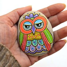 Hand Painted Stone Owl from ISassiDellAdriatico on Etsy | Home,