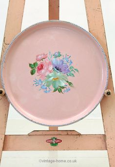 Vintage Home - Beautiful 1930s Hand Painted Floral Tray.