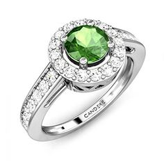 Candere 0.98 Carat (ctw) 925 Solitaire Halo Engagement Ring Round Tourmaline