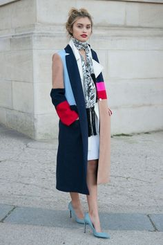Paris Fashion Week street style - beautiful colours, coat, red lip