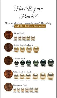 Many are unsure what size pearls to buy. This pearl size comparison chart can help to demystify the sizing of pearls. Small pearls would be about a quarter of