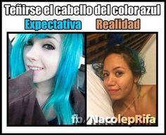 Cabello azul expectativa vs realidad jajajaja