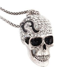 Skull much? This skull head pendant necklace has moving joint at mouth and embellished with sparkling crystal stones. If you are into rockabilly, this piece is a great addition to your jewelry.