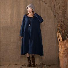 Women's long sleeve loose pullover cotton linen dress