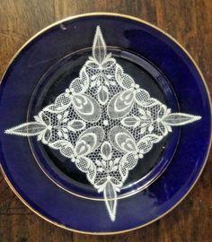 "Vintage Unique Embossed Print Cobalt Blue Bone China 8"" Salad Plate  India"