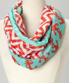 Take a look at the Mint & Red Zigzag Anchor Infinity Scarf on #zulily today!