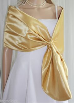 Gorgeous-GOLD-Satin-Pull-through-Shawl-Wrap-Scarf-Perfect-for-Bridal-Formal-NEW
