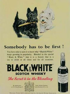 Vintage Black & White Scotch Whisky ad