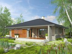 Eris II (wersja C) - projekt domu - Archipelag 2 Storey House Design, Small House Design, Stone Driveway, Gazebo, House Plans, Floor Plans, Exterior, Outdoor Structures, Cabin