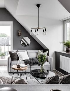 Attic living area in grey - via Coco Lapine Design blog