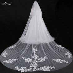 LZP037 Bamboo Veil Applique One Layer Beaded Bridal Veil #Affiliate