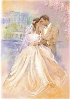 How To Look Your Best On Your Wedding Day. Wedding Prints, Wedding Art, Wedding Album, Wedding Images, Wedding Pictures, Vintage Wedding Cards, Images Vintage, Wedding Illustration, Wedding Anniversary Cards