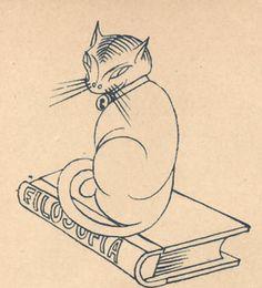 Um gatinho filósofo desenhado por Almada Negreiros para a revista Ilustração em 1928.