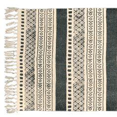 Tapis de couloir rectangulaire en coton Ikat