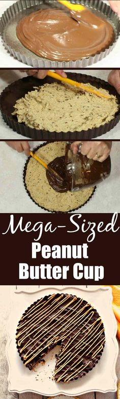 This Mega-Sized Peanut Butter Cup will delight an entire crowd with its fun presentation and super delicious filling of peanut butter, coconut, and pecans. It's not your average peanut butter cup. It's mega amazing! | Kudos Kitchen by Renee