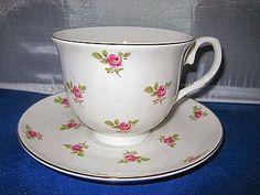 2 Dot Rose Englsih Bone China Teacups & Saucers