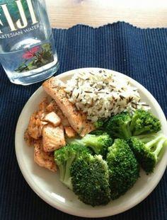 Salmon, wild rice, & broccoli