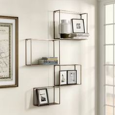 For wall to the left of desk - Mercury Row Kareem 4 Piece Wall Shelf Set Decor, Wall, Modern Wall Shelf, Home, Wall Display, Minimalist Shelves, Wall Shelves, Metal Wall Shelves, Floating Wall Shelves
