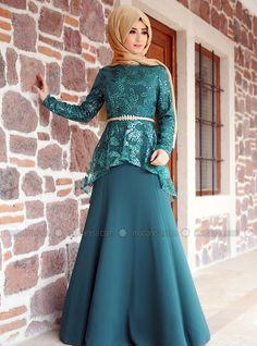 Peplum Evening Dress - Green - Zehrace