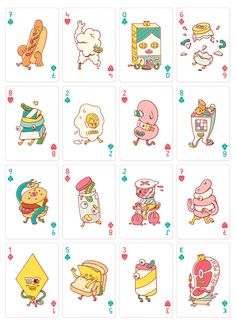 Brosmind Playing Cards for Bicycle on Behance Character Illustration, Digital Illustration, Graphic Illustration, Bicycle Playing Cards, Budget Planer, Custom Art, Sticker Design, Doodle Art, Food Illustrations
