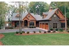 one story with side loading garage | craftsman log stacked stone home house