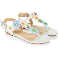 Monsoon Pastel Sequin Flower Sandals ($38) ❤ liked on Polyvore featuring shoes, sandals, shiny shoes, bright shoes, buckle shoes, metallic strappy sandals and buckle sandals