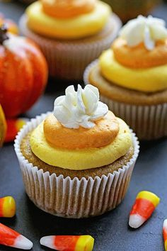 Pumpkin Cupcakes with Candy Corn Buttercream with McCormick | Grandbaby Cakes…