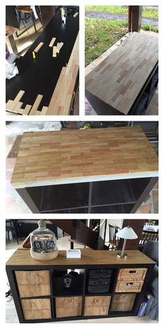 """Furniture customization expedit Ikea with kapla recovered in an attic void. Home made """"customize my expedit Ikea selves"""" with pieces of wood from a construction game kapla. (Kapla DIY D… Wood Table Decor, Home Diy, Furniture Diy, Furniture Makeover, Kallax Ikea, Diy Furniture, Ikea Furniture, Home Decor, Home Deco"""