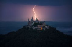 "astound-me: "" Storm over Hohenzollern castle, Germany [1600x1058] """