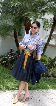 Susana Fernandez | A Key to the Armoire <navy blue + gingham + yellow + ribbon belt + Louis Vuitton + tortoise + J Crew + Ralph Lauren + Tommy Hilfiger + wrap skirt + full skirt + professional attire + work attire + ladylike style + classic style + southern style>