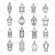Muslim antique lamp symbols by Microvector on @creativemarket