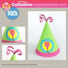 Cute Party Hat die cut - CraftHappy Cuttables: Let's Eat Cake CK01  #svg #silhouette