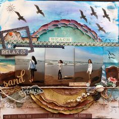 Beach - Scrapbook.com- a mixed media style layout made with the Endless Summer collection