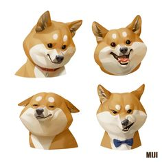 Shiba Dog Art Print by miji lee - X-Small Art And Illustration, Character Illustration, Illustrations, Cartoon Drawings, Animal Drawings, Cartoon Expression, Poses References, Character Drawing, Creature Design