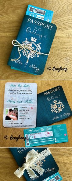 Are you two great travelers? Then choose your hobby as you wedding theme! Passport wedding invitations are perfect for a wedding abroad or the couple that loves to travel! Put your personal stamp o…