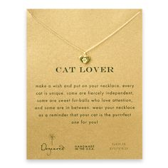 cat lover best friend heart paw necklace, gold dipped - Dogeared