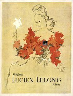 Lucien Lelong Perfumes 1945 Paulin Vintage advert Perfumes illustrated by Maurice Paulin | Hprints.com