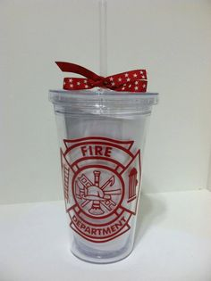 Proud Firefighter's Wife Tumbler w/ Straw. $10.00, via Etsy. I want one!!!!!