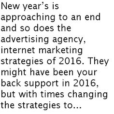 New year's is approaching to an end and so does the advertising agency, internet marketing  strategies of 2016. They might have been your back support in 2016, but with times changing the strategies too is important. Change is necessary to keep pace with the world which is constantly in motion and changing every day. Para maiores informações :http://one8020.com.br/