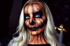 9 Halloween Makeup Tutorials If You Want a Challenge - Kelsey René - holloween Halloween Pumpkin Makeup, Amazing Halloween Makeup, Pumpkin Costume, Halloween Doll, Vintage Halloween, Halloween Pumpkins, Halloween Costumes, Halloween Face Makeup, Costumes