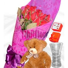 One dozen bouquet of elegant long stemmed red roses, a soft brown Teddy Bear approximately 12 to 13 inches tall, an elegant gold plated Fashion Accessories Gift Set(Necklace with pendant, earrings and adjustable ring) and a luxurious looking glass vase for your mother this Mother's Day to show your affection and care. Shipped in a box and comes with a FREE personalized beautiful message card. Online Flower Shop, Brown Teddy Bear, Message Card, Adjustable Ring, Pendant Earrings, Red Roses, Glass Vase, Fashion Accessories, Bouquet