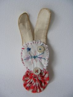Handmade textile BROOCH Big Beryl Bunny by hensteeth on Etsy, $25.00